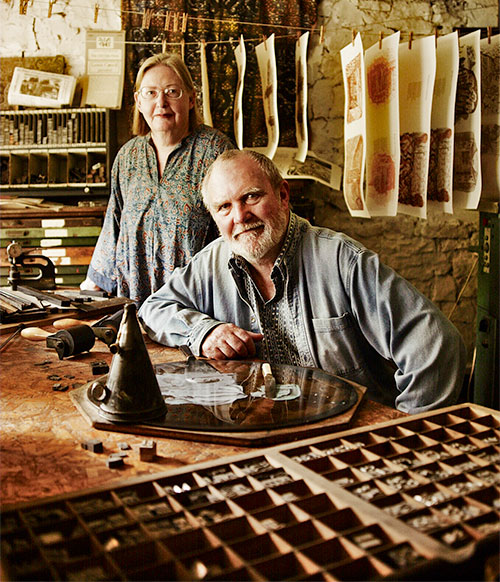 Frances & Nicolas McDowall in the print shop